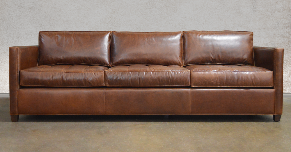 Arizona Italian Brompton Clic Vintage Julien Slope Arm Cocoa Leather Sofa