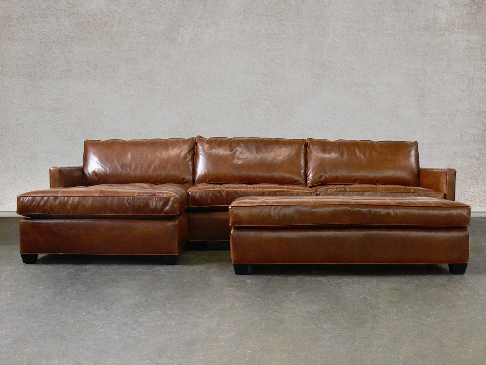 Arizona Leather Sectional Sofa Chaise in Brompton Classic Vintage