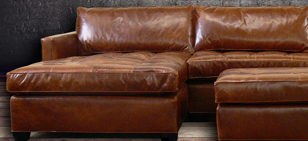 The Arizona Leather Sectional Sofa in Italian Brompton Vintage