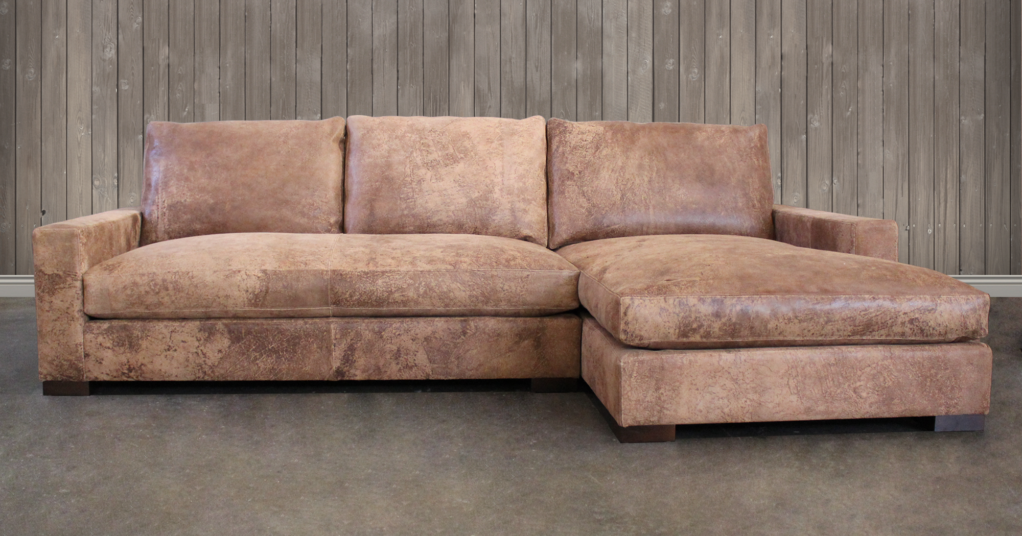 Braxton Sofa Chaise Sectional in Italian Destroyed Leather