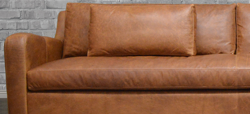 Julien Slope Arm Leather Sofa in Italian Berkshire Chestnut
