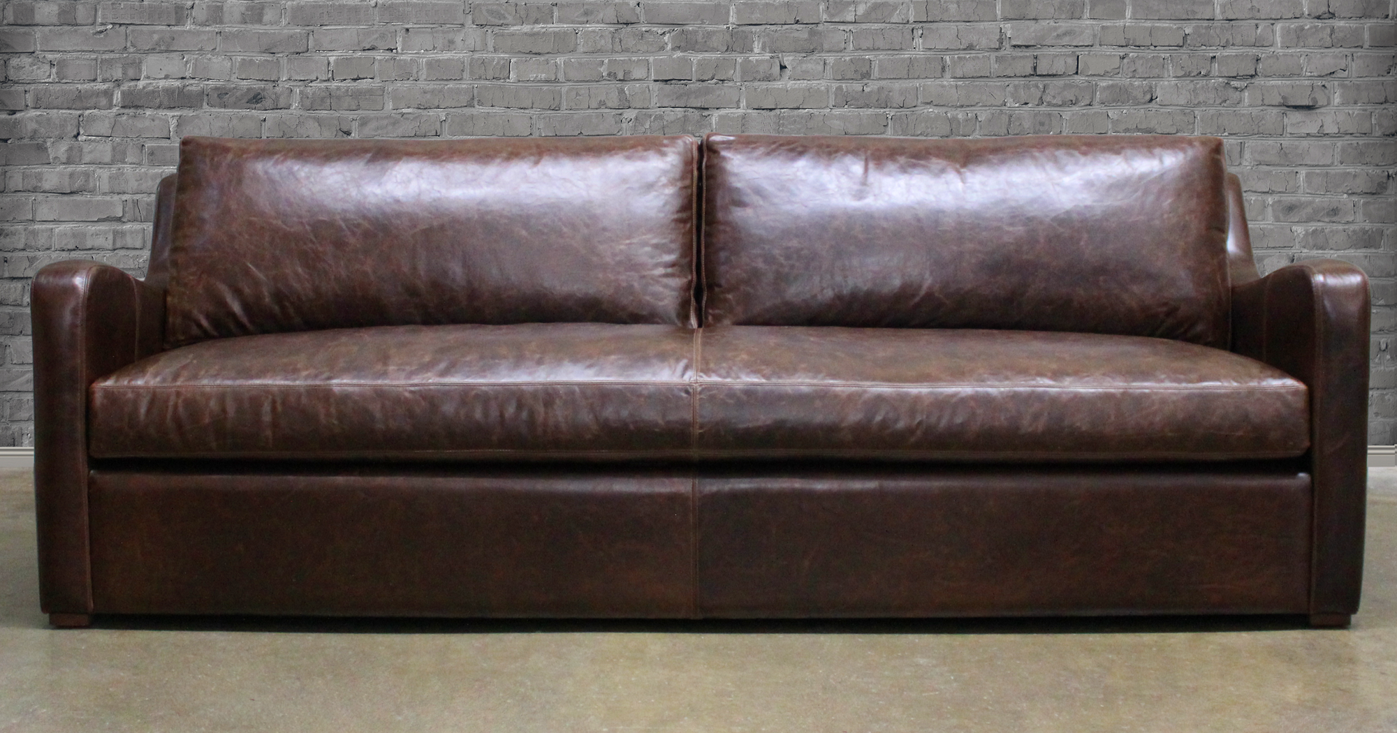 Julien Slope Arm Italian Brompton Cocoa Leather Sofa