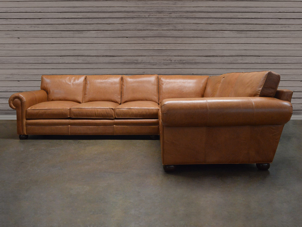 Langston Leather Sectional Sofa in Glove Chestnut