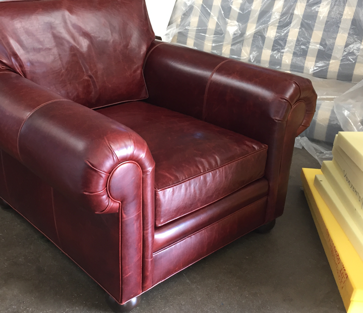 Langston Leather Chair in Italian Brompton Walnut