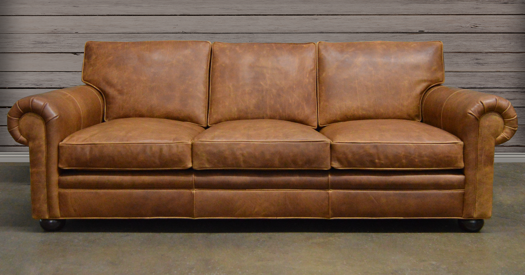 Langston Leather Sofa in Italian Brentwood Tan Leather
