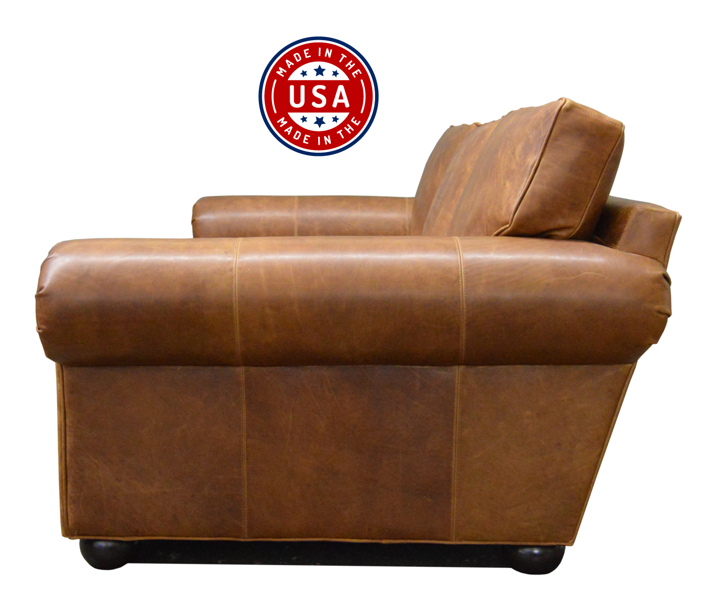 Langston Leather Sofa in Italian Brentwood Tan Leather - side view