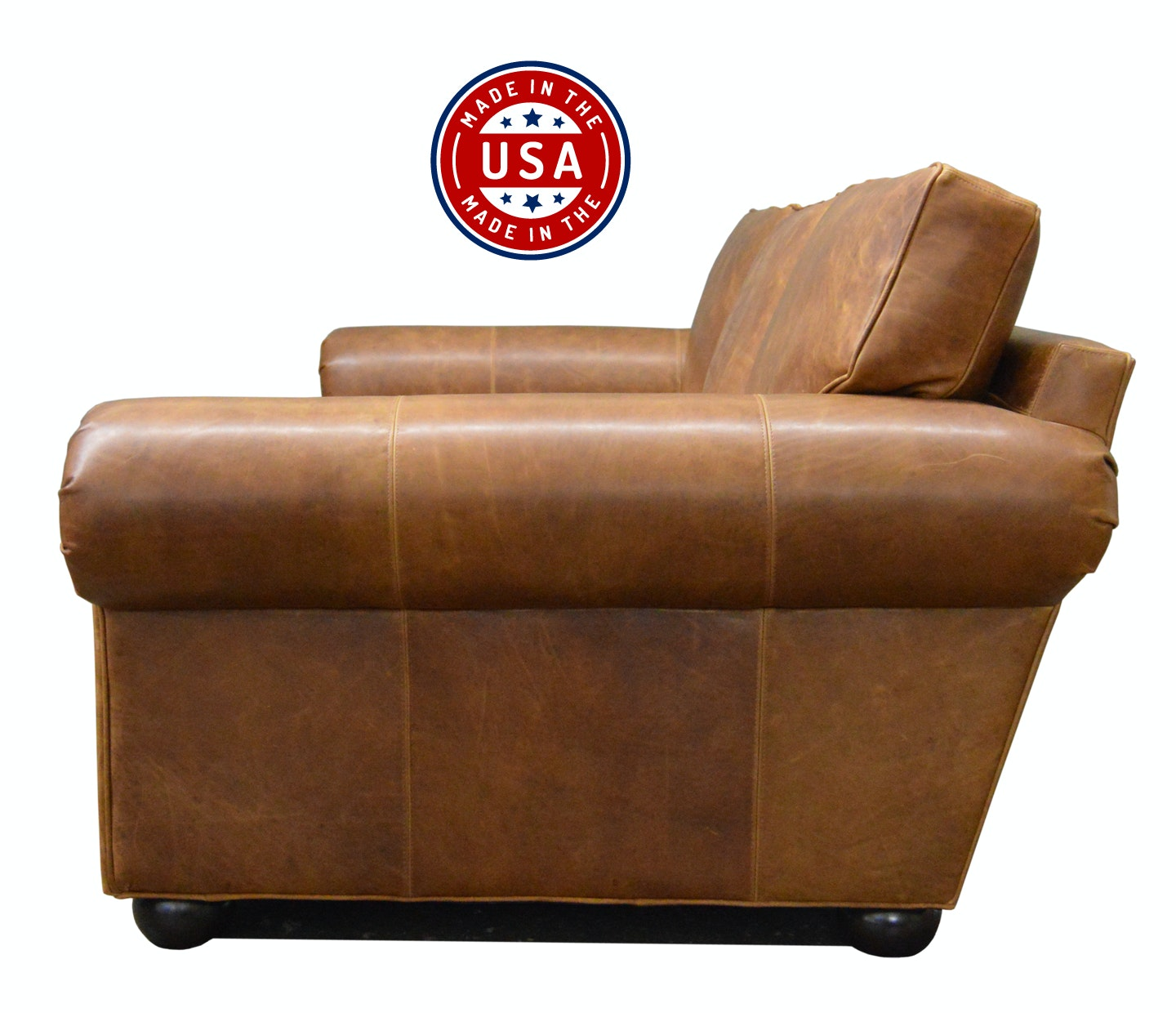 Langston Leather Sofa In Italian Brentwood Tan Leather   Side View