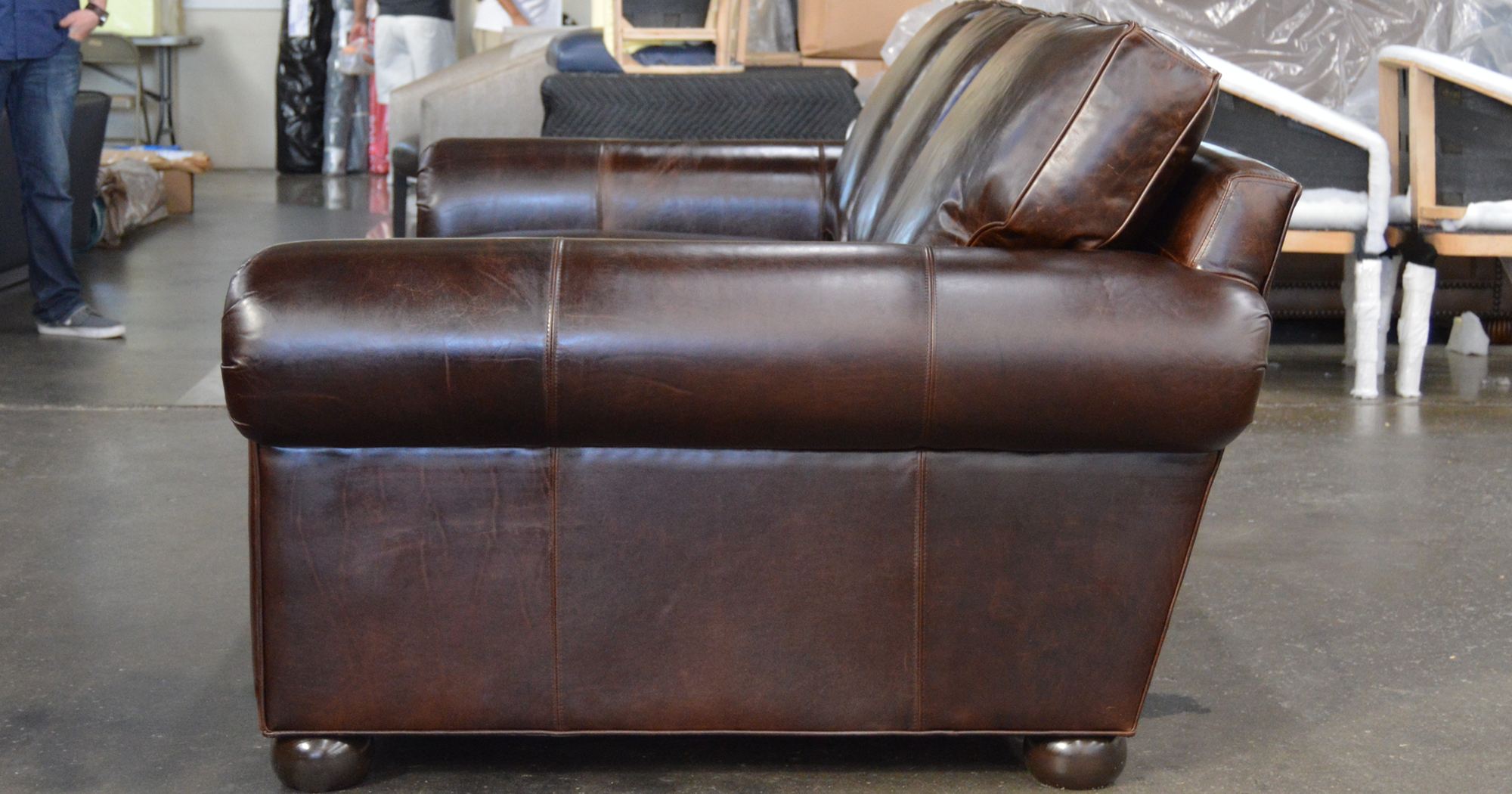Langston Leather Sofa in Italian Brompton Cocoa