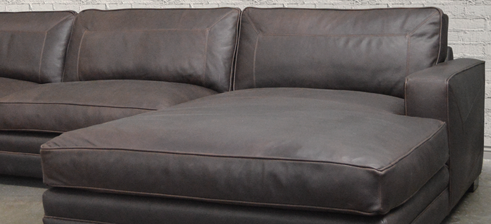 Las Vegas Leather Sofa Chaise SEctional in Italian Berkshire Leather