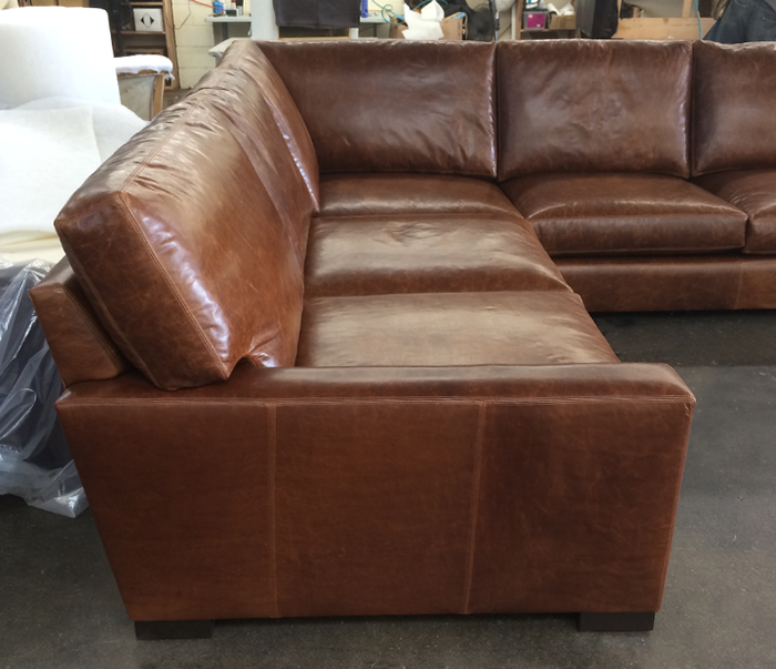 Custom Braxton Corner Sectional with two different depths