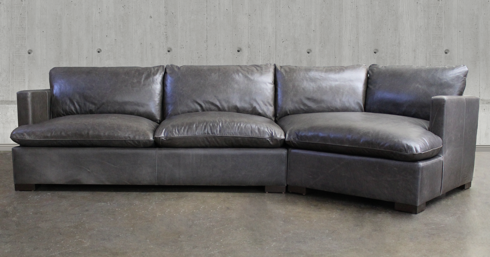 Reno Leather Sectional Sofa with Cuddler in Italian Glove Timberwolf Leather