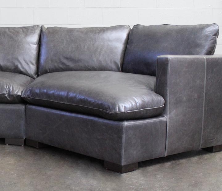 Reno Leather Sectional Sofa with Cuddler in Italian Glove Timberwolf