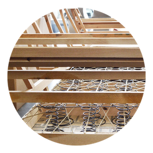Kil Dried Solid Hardwood Frame, Reinforced and Built by hand in America